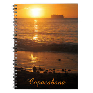 Sunset in Copacabana, Brazil Spiral Notebooks