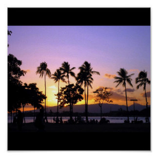 Sunset in Hawaii Poster