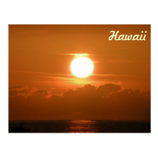 Sunset in Kona, Hawaii Postcard with Boat