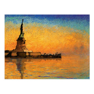 Sunset in Liberty Island Postcard