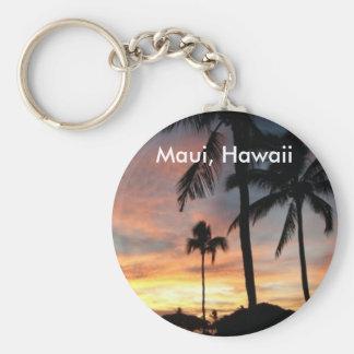 Sunset in Maui, Hawaii Basic Round Button Keychain