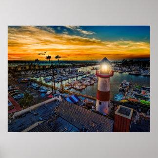 Sunset in Oceanside Harbor Poster