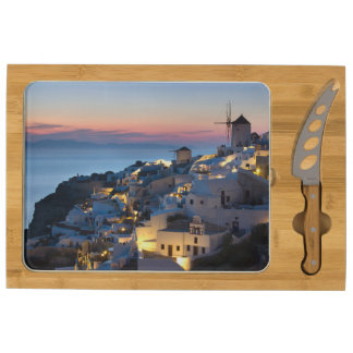 Sunset in Oia Greece Round Cheese Board