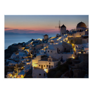 Sunset in Oia Greece Poster