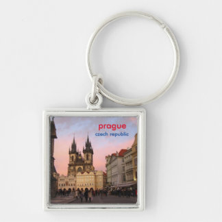 Sunset In Old Town Square - Prague, Czech Republic Silver-Colored Square Keychain