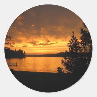 Sunset in Port Loring Ontario Canada Classic Round Sticker