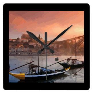 Sunset in Porto Illustration Square Wall Clock