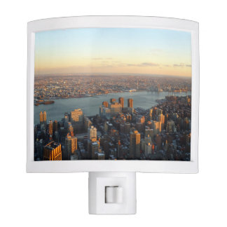 Sunset in the big city with tall buildings night lites