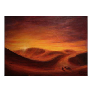 Sunset in the desert of Sahara Poster