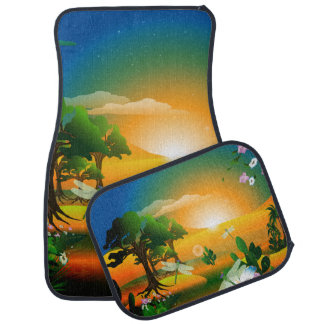 Sunset in the fantasy world car mat