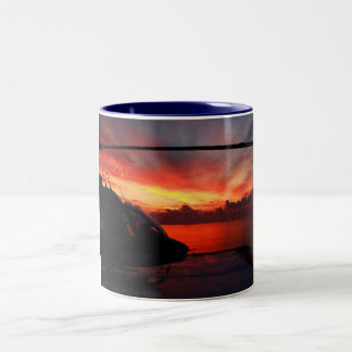 sunset in the gulf of mexico Two-Tone coffee mug