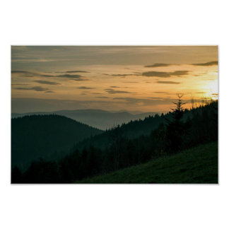 Sunset in the mountains, Poland Poster
