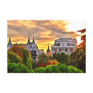 Sunset in the Retiro Park in Madrid. Canvas Print