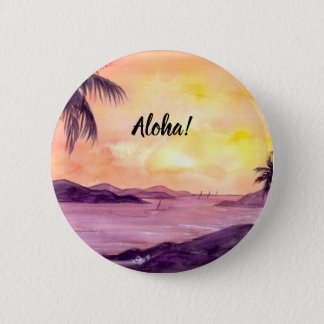 Sunset in Tropics by Farida Greenfield 2 Inch Round Button