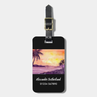 Sunset in Tropics by Farida Greenfield Luggage Tag