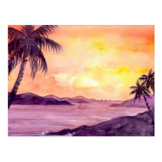 Sunset in Tropics by Farida Greenfield Postcard