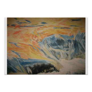 Sunset In Waterfall Poster