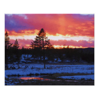 Sunset in Yellowstone Poster