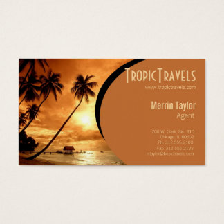 sunset island travel agency business card