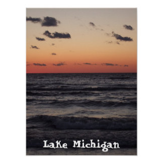 sunset , Lake Michigan Poster