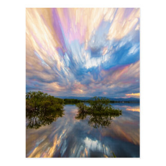 Sunset  Lake Reflections Timed Stack Postcard