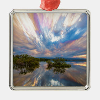 Sunset  Lake Reflections Timed Stack Silver-Colored Square Ornament