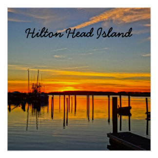 Sunset Landing Skull Creek Boathouse Hilton Head Poster