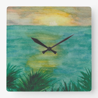 Sunset Landscape Square Wall Clock