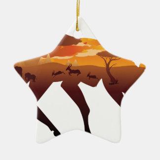 Sunset Landscape with Antelopes 2 Ceramic Ornament