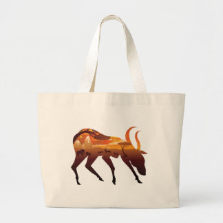 Sunset Landscape with Antelopes 2 Large Tote Bag