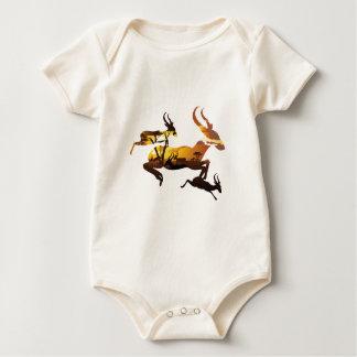 Sunset Landscape with Antelopes 3 Baby Bodysuit