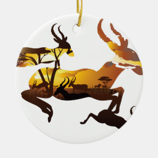 Sunset Landscape with Antelopes 3 Ceramic Ornament