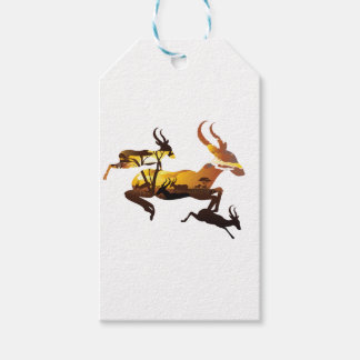 Sunset Landscape with Antelopes 3 Gift Tags