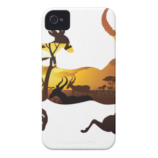 Sunset Landscape with Antelopes 3 iPhone 4 Case