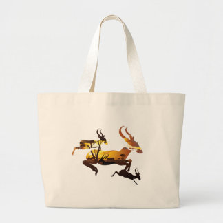 Sunset Landscape with Antelopes 3 Large Tote Bag