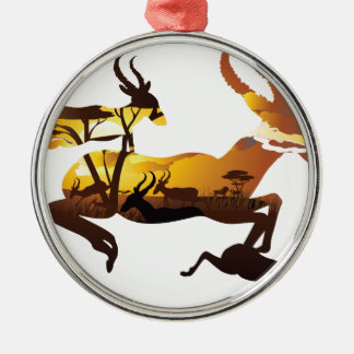 Sunset Landscape with Antelopes 3 Metal Ornament