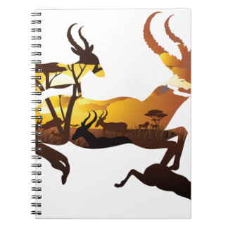 Sunset Landscape with Antelopes 3 Notebook