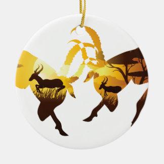 Sunset Landscape with Antelopes Ceramic Ornament
