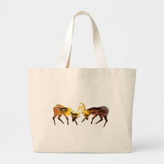 Sunset Landscape with Antelopes Large Tote Bag