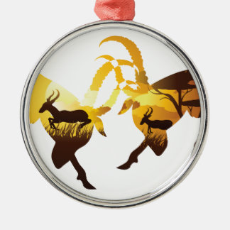 Sunset Landscape with Antelopes Metal Ornament
