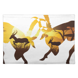 Sunset Landscape with Antelopes Placemat
