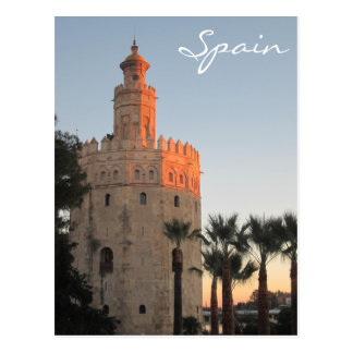 Sunset lit Golden Tower in Seville, Spain Postcard
