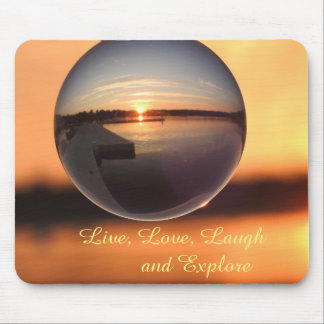Sunset Live Laugh Love Crystal Ball Mouse Pad
