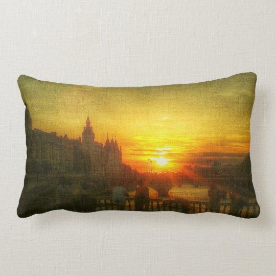 Sunset Love Paris Bridge France Throw Pillow