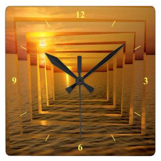 Sunset Madness Square Wall Clock