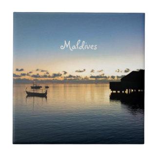 Sunset Maldives Beach House Boat Ceramic Tile