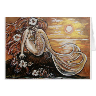 sunset mermaid card
