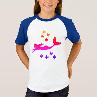 Sunset Mermaid Girls' Short Sleeve Raglan T-Shirt