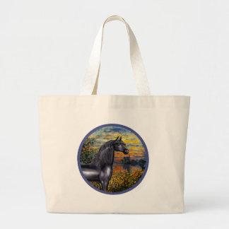 Sunset(Monet) - Black Arabian Horse Large Tote Bag