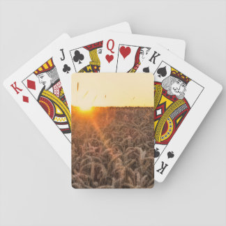 Sunset morning field playing cards